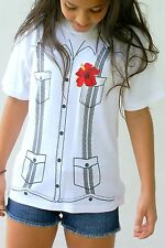 Girl Guayabera T-Shirt by Panabrisa Cotton Short Sleeves White Size: 4 up to 20