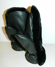 BLACK SHEARED BEAVER FUR MITTENS LEATHER MINK FUR INSIDE Ideal for ski ALL SIZES