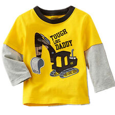 Baby Boys Kids Yellow Long Sleeve 100% Cotton Tee Tops T-shirts Toddlers Clothes