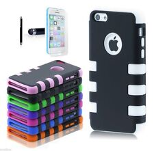 PC Shockproof Dirt Dust Proof Hard Cover Case For iPhone 5C w/ Screen Protect