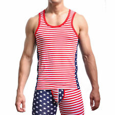 Soft Mens Star Striped Gym fitness T-Shirts Tank Top Vest Sleeveless Undershirt