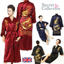 Women's SILK /Satin Robe Kimono Gown Dragon Yukata Hakma Vintage Bathrobe Robe