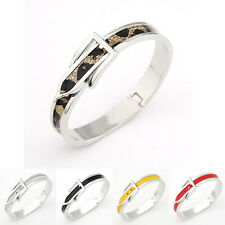 Fashion Charm Women Silver Tone Buckle Belt  Adjustable Bangle Bracelet Jewelry