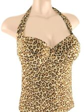 32A 34A Victoria's Secret F/S Cheetah Padded Pushup Halter Tankini Top NEW