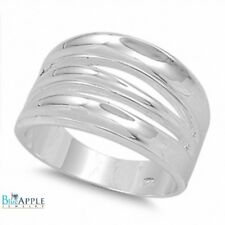 14mm 3 Row Wave Wide Ring Solid 925 Sterling Silver Everyday Excellent Gift