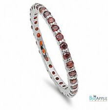 2MM Stackable Wedding Engagement Anniversary Ring 925 Sterling Silver Garnet CZ