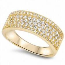 3 Half Eternity Wedding Band Ring 925 Sterling Silver 14K Yellow Gold Russian CZ