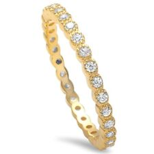 3MM Full Eternity Stackable Band Ring 925 Sterling Silver Yellow Gold Russian CZ