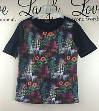 RIVER ISLAND Casual Black Red White Green Floral T-Shirt Top - Womens Size UK 8