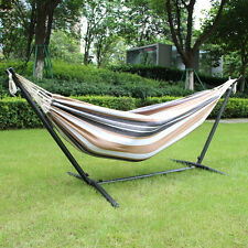 Double Patio 9 FT Cotton Hammock With Steel Stand Portable Carrying Case Stripe