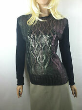 NWT Narciso Rodriguez for DesigNation Foil Cable-Knit Sweater Sz.XS, S,M  New