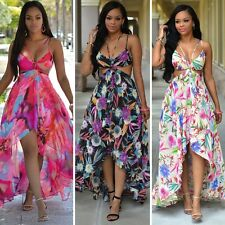 Sexy Women Summer Floral Boho Long Maxi Evening Party Beach Dress Chiffon Dress
