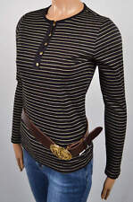 LAUREN by RALPH LAUREN BLACK LONG SLEEVE KNIT TOP SHIRT GOLD STRIPES PINSTRIPES