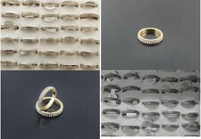 Newest Design Lots 30pcs Full Rhinestone Silver/Gold P Charm Noble Lady's Rings