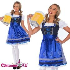 Ladies Beer Maid Wench Oktoberfest Costume Blue Gretchen German Fancy Dress Up