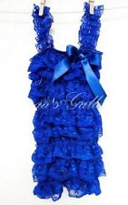 Royal Blue Posh Lace Petti Ruffle Rompers, Baby, Toddler, Girls