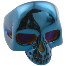 316L Stainless Steel Skull Head Skeleton Biker Finger Ring Jewelry Blue Size7-13