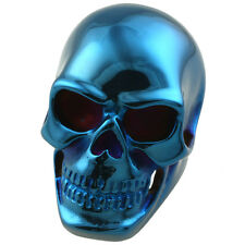 Mens Heavy 316L Stainless Steel Blue Skull Head Bone Finger Ring Jewelry US 9-13