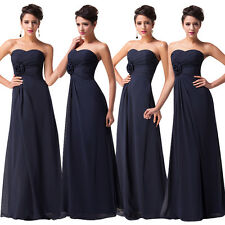 Long Strapless Evening Formal Party Ball Gown Prom Dress Dark Navy Party
