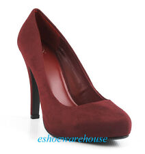 Wine Red Faux Suede Awesome Sexy Must Have Almond Toe Hidden Platform Pumps