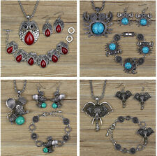 Boho Retro Tibetan Silver Turquoise Necklace+Bracelet+Earring Jewelry Set Gift