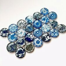 Round Glass Cabochon Blue and White Porcelain Pictures Dome Embellishment