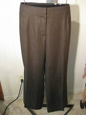 MISSES BROWN 100% PURE IRISH LINEN PANTS TALBOTS HERITAGE WIDE LEG 12 $109