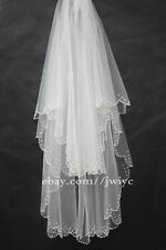 New 2T White/Ivory Bridal Vail wrist length beaded edge Wedding veil + comb