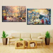 Christmas Night Modern Art Print Oil Painting on Canvas Home Decor Unframed 2PCS