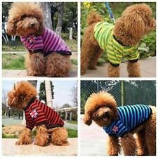Striped Dog T Shirt Puppy Cat Pet T Shirts Clothes Apparel 4 Colour XS S M L XL