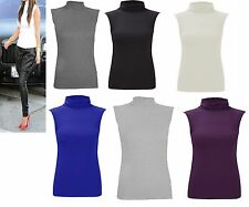 womens ladies polo top stretch SLEEVELESS vest turtle high neck T shirt 8-26