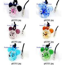 g623m26 Mickey Mouse Flower Bead Murano Lampwork Glass Handmade Pendant Necklace