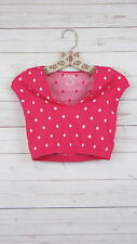 NEW Free People Womens Seamless V-Neck Polka Dot Crop Top Hot Pink XS/S-M/L