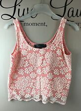 TOPSHOP Pink Floral Lace Cropped Evening Tank T Shirt Top - Womens Size 6 PETITE