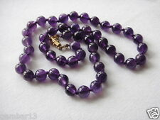 Violet Amethyst Necklace 8mm Beads Various Lengths Hand Knotted Amethyst Beads