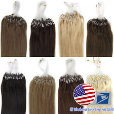 "DIY Micro Beads Extensions Loop Rings Tip Brazilian Remy Human Hair 18"" 20"" US"