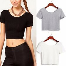 Women Sexy Tee Belly Shirt Short Sleeve Crop Tops Yoga Midriff Casual Blouses