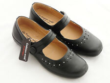 Womens Lightweight Black Faux Leather Mary Jane Flats Comfort Office Work Shoes