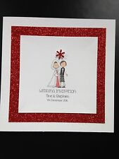 Handmade Personalised Wedding Day/Evening Invitations Bride Groom Winter Snow