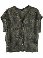 TOPSHOP Sheer Top - Womens Size UK 10 Brown Leopard Animal Blouse T Shirt