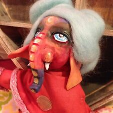 OOAK Art Doll Elephant Spiritual Hippy 8 Inch Poseable Handmade Unique Gift