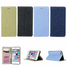 Denim Jeans Cloth Automatically Pull Card Storage Case Skin For iPhone 6 6s Plus