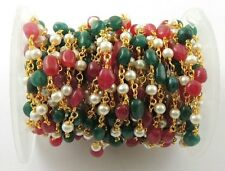5 Feet Pearl And Assorted Aventurine Gold Wire Wrapped Rosary Beaded Chain