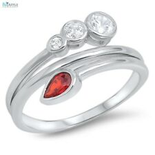 Ladies Fashion Stone Ring 925 Sterling Silver Red Garnet Russian CZ Jewelry Gift