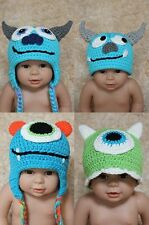 New Cute Handmade Minotaur Baby Child Knit Crochet Hat Cap Photo Prop 0-4Year