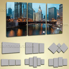 Large Framed Contemporary Landscape Wall Art Print On Canvas Chicago Skyline