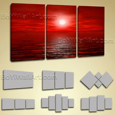 Large Framed Contemporary Abstract Seascape Painting Print Wall Art Canvas Red