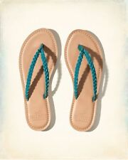 ❤ Hollister Turquoise Blue Braided Sandals Flip Flops ❤ Size 8 or 9