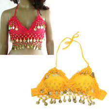 5X( hand made New Sexy Folded lace Coins Belly Dance Bra Top( Hot Pink )) ZH