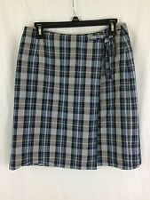TALBOTS Womens Blue Gray Red Plaid Wool Irish Linen Wrap Short SKIRT Size 10